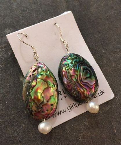 Paua Large Shell & Pearl Earrings PE06-WPSHELL